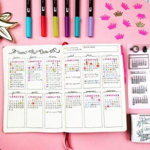 Bullet Journal Page de Calendrier